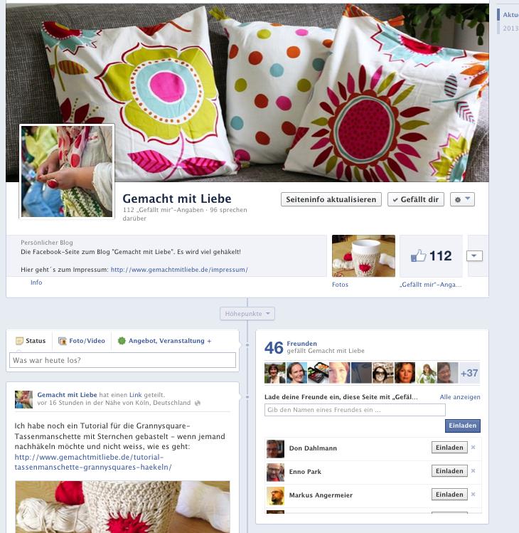 gemacht mit liebe auf facebook mit eigener seite. Black Bedroom Furniture Sets. Home Design Ideas