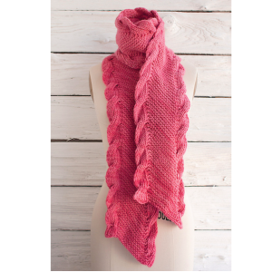 Bias Scarf with Ribbed Cables