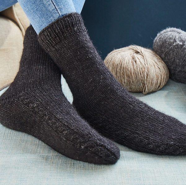 Premium Alpaka Soft Socken mit Zopfmuster